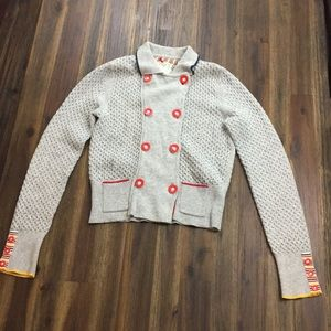 Anthro Sparrow gray knit red button cardigan